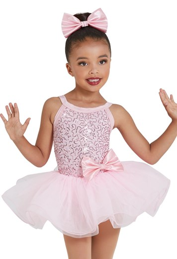 Childrens Tank Dance Dress with Flower Accents in Black or Pink