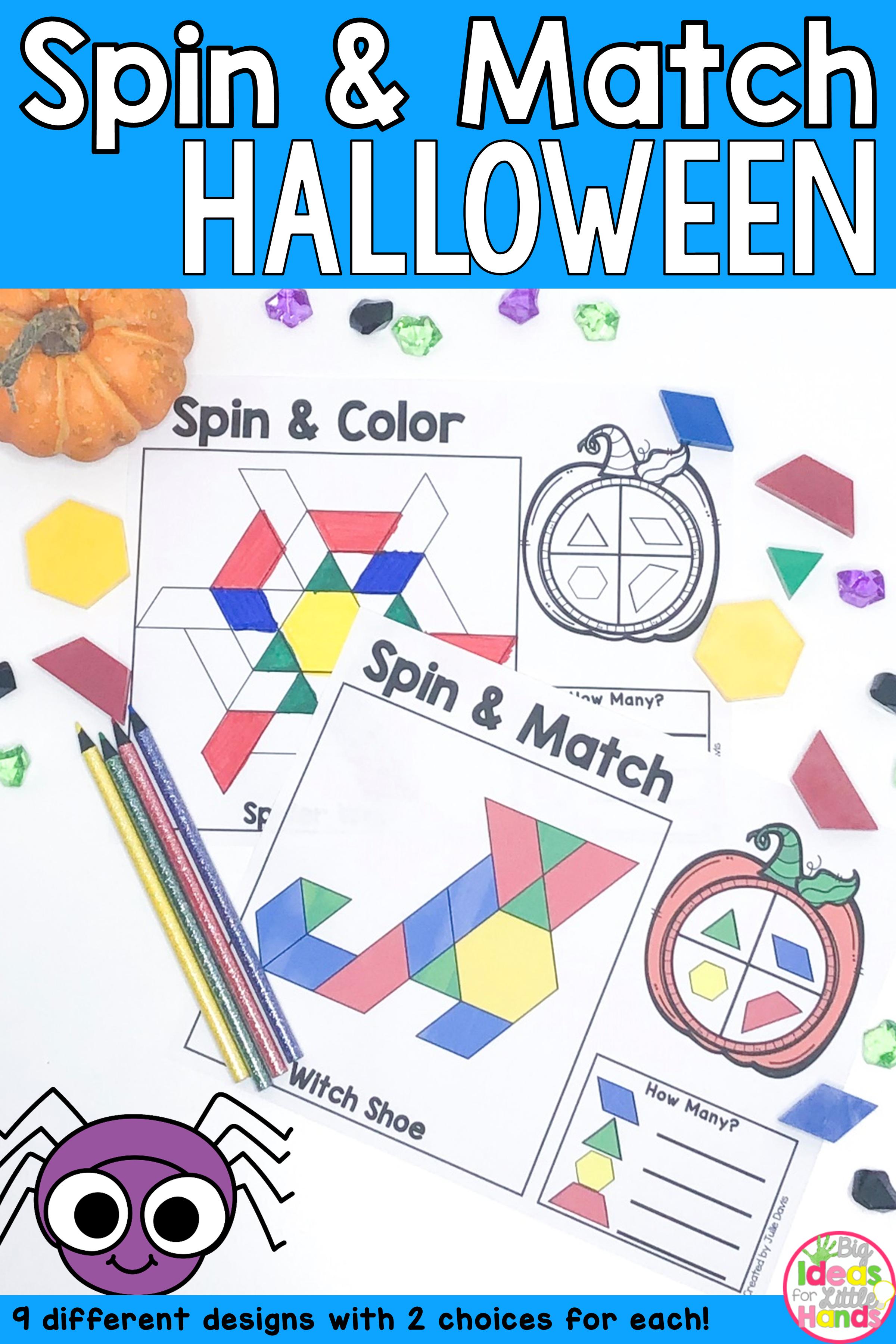 Pattern Blocks Mat Halloween Math Center