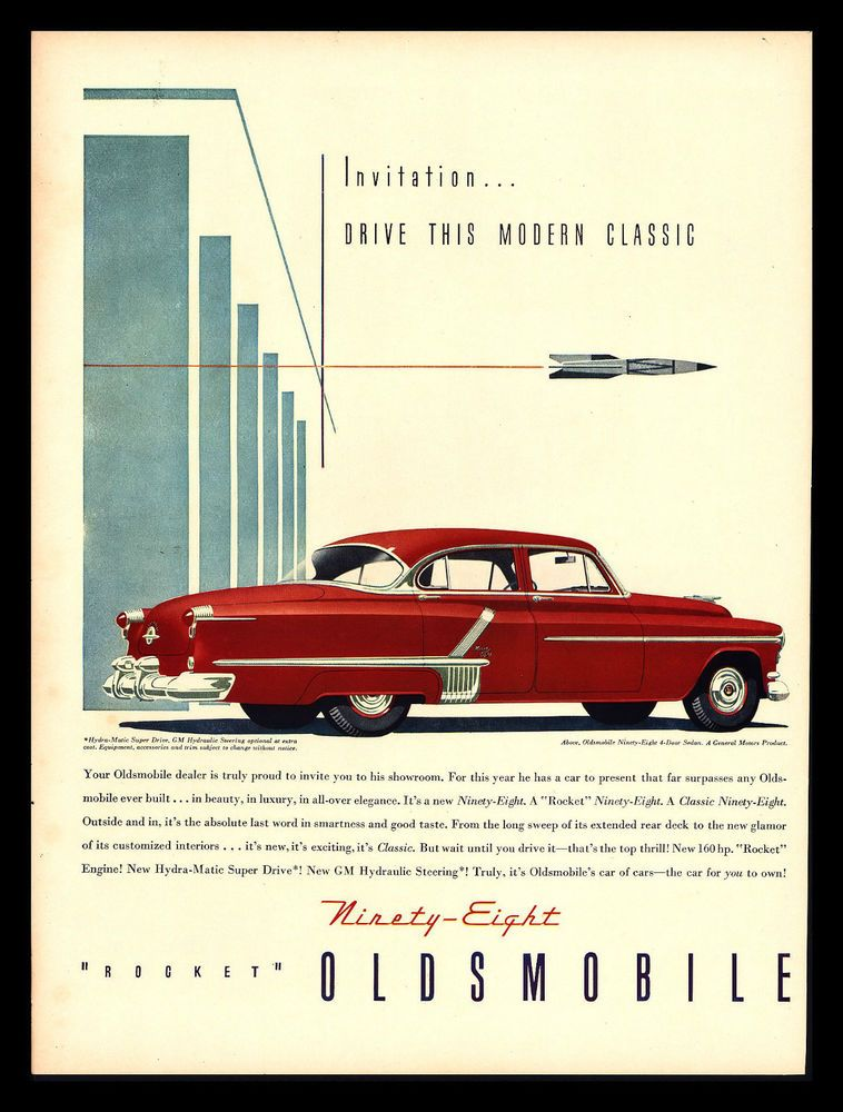 "ORIGINAL 1952 ""OLDSMOBILE NINETY EIGHT"" 4-DOOR SEDAN CLASSIC CAR ART PRINT AD   