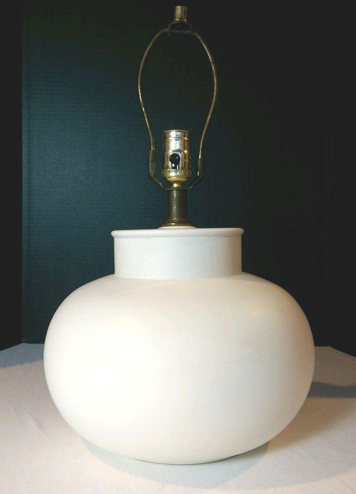 Large Super Mid Century Modern Signed Haeger Ceramic Pottery Lamp Bone White Pottery Lamp Ceramic Pottery Pottery