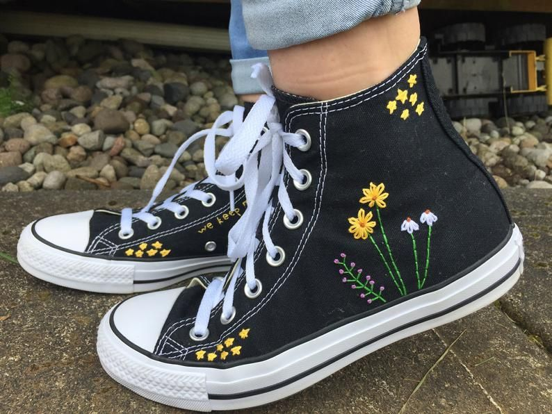 Stars and Flowers Embroidered Converse | Etsy