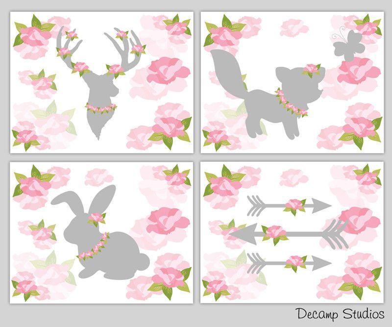 Woodland Nursery Print Girl Wall Art Rose Deer Antler Fox