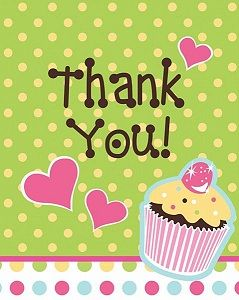 'Sweet Treats' Thank You Cards 8pack £2.89