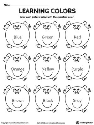 free learning basic colors worksheet practice learning the basic colors - Colour Worksheets For Kindergarten