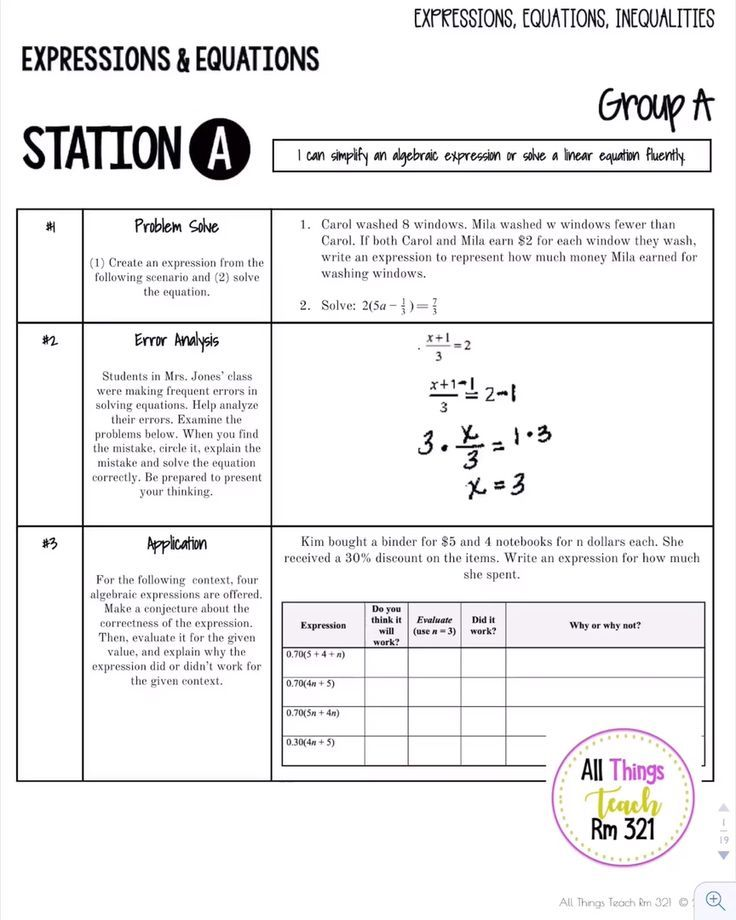 STATIONS - Differentiated - Expressions, Equations ...
