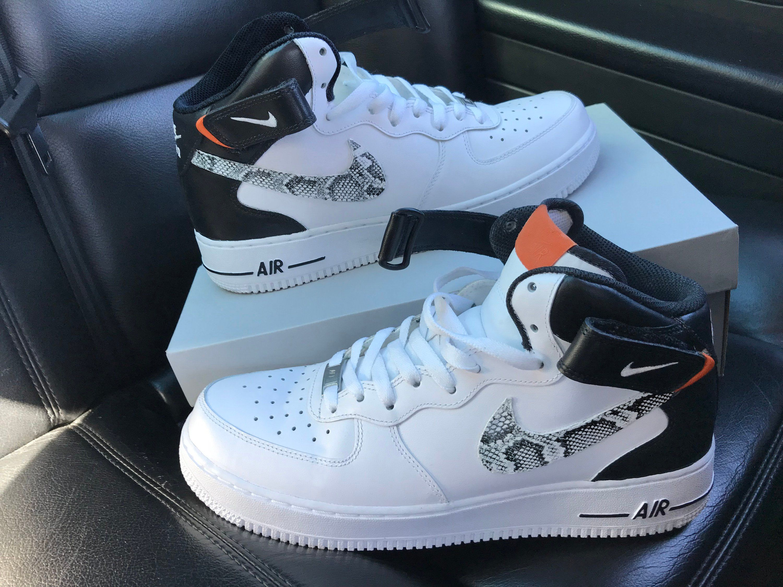 Custom Snake skin Nike Air Force 1 mid BlackWhite   Etsy   신발