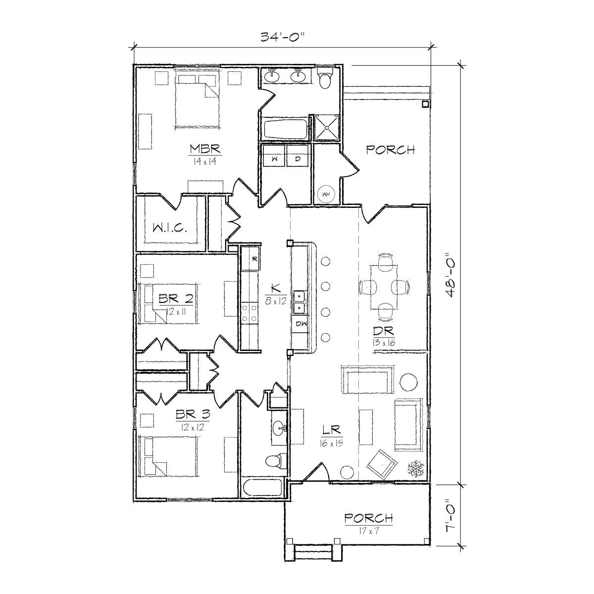 bungalow house plans with porches. Carolinian III Bungalow Floor Plan  TightLines Designs Shirl s