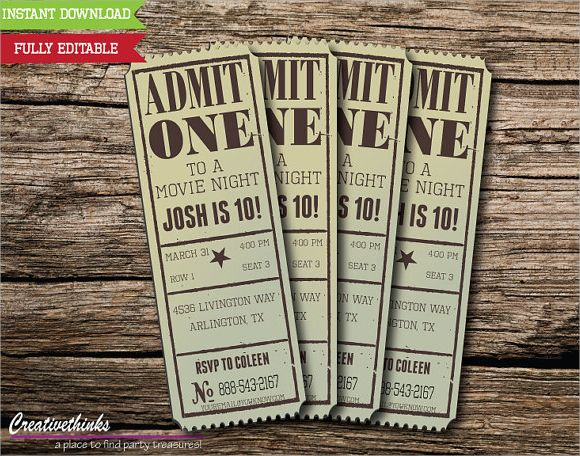Vintage Movie Ticket Invitation Template Party Ideas - movie ticket template for word