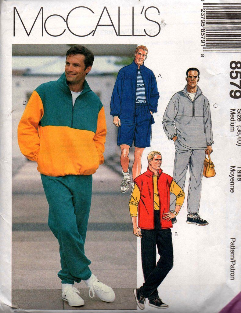 0081b37ff2951 McCall s 8579 Mens Sportswear Jacket Vest Top Pants   Shorts 90s Vintage Sewing  Pattern Chest 38 40 inches UNCUT Factory Folded
