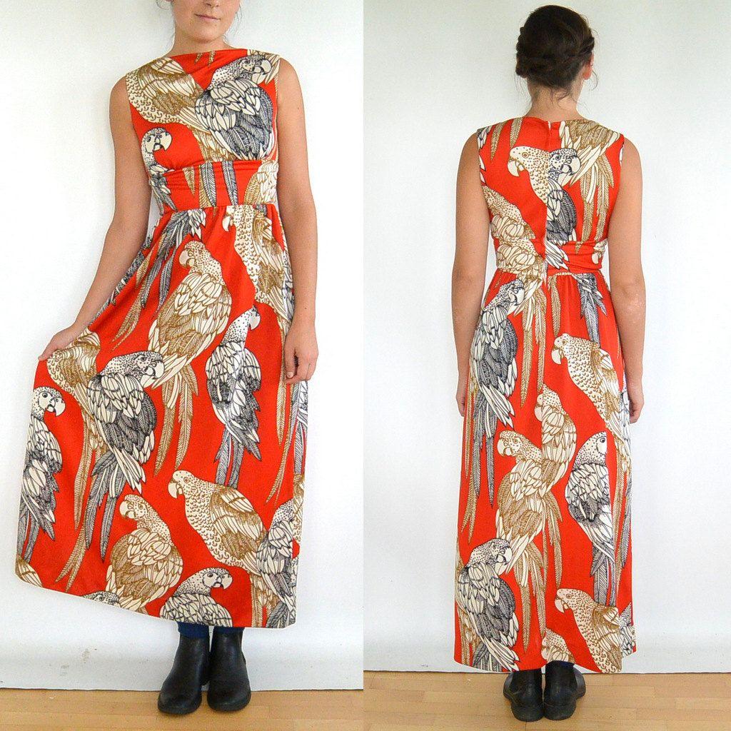 Vintage 70's Grecian Parrot Pattern Dress // by ParadisePrairie