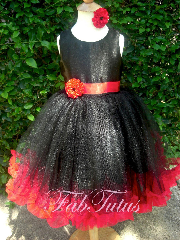 Black and Red flower girl tutu dress | Houston - Usher Wedding ...
