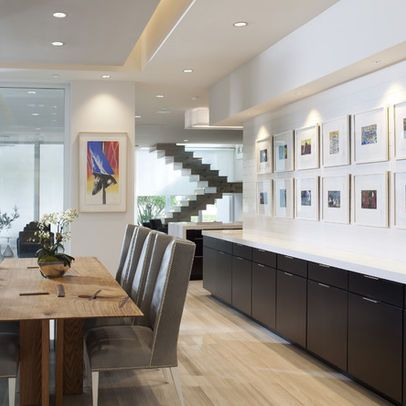 Modern Home Dining Room Long Built In Instead Of Buffet Dining