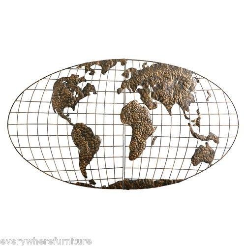 NEW Iron Metal World Globe Map 3D Declan Wall Art Decor Gold Holly