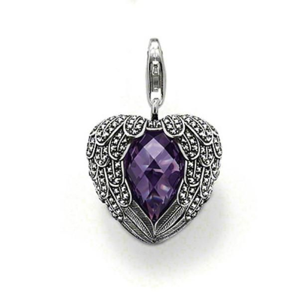 Colgante Thomas Sabo plata, corazón, alas, marcasita violeta - Manuel Joyero