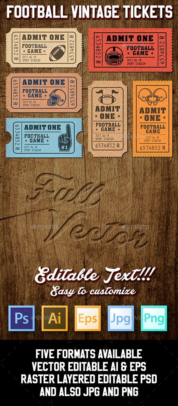 Vector Editable Football Tickets — Photoshop PSD #tickets #ball • Download ➝ https://graphicriver.net/item/vector-editable-football-tickets/18968949?ref=pxcr