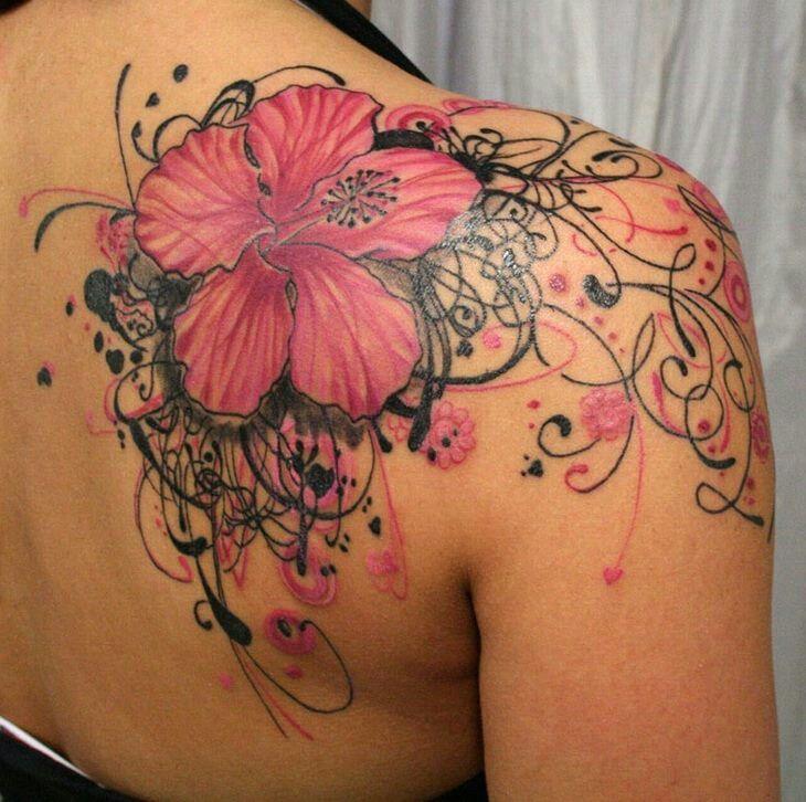 Fleur black and pink avec lianes flous ...