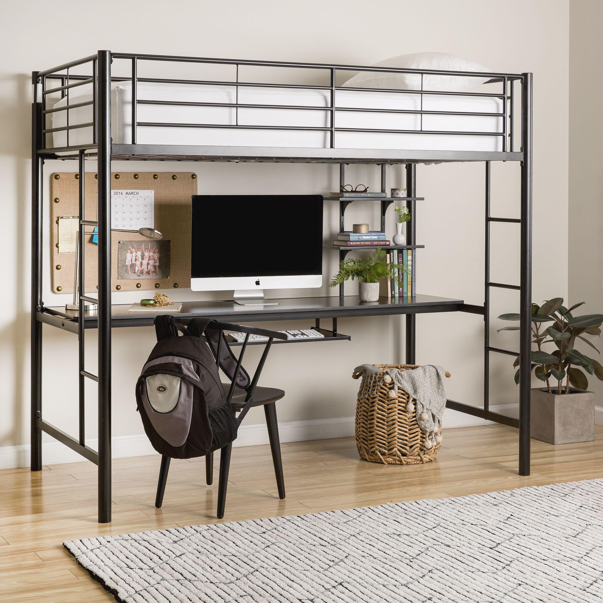 Twin loft bed ideas  Black Metal Twin Loft Bed with Desk in   Products  Pinterest