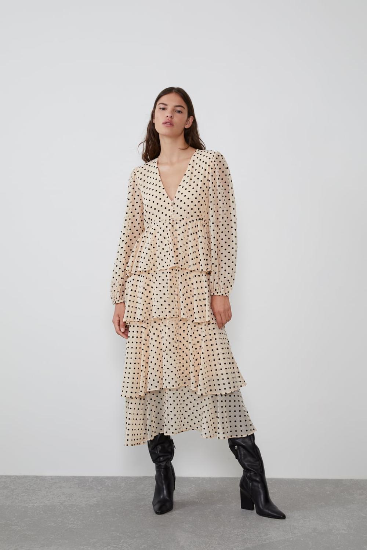 ruffled polka dot dress - view all-dresses-woman | zara