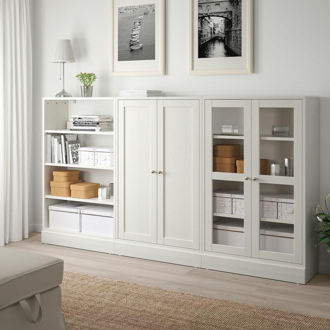 Havsta Storage Combination W Glass Doors White 95 5 8x14 5 8x52 3 4 Ikea Ikea Living Room Living Room Storage Ikea