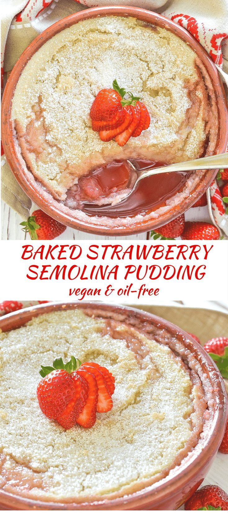 Semolina pudding but not as you know it......Sweet strawberries are baked under sugar encrusted semolina until bubbling & saucy. The pudding becomes almost sponge like & is so comforting & delicious!  via @avirtualvegan