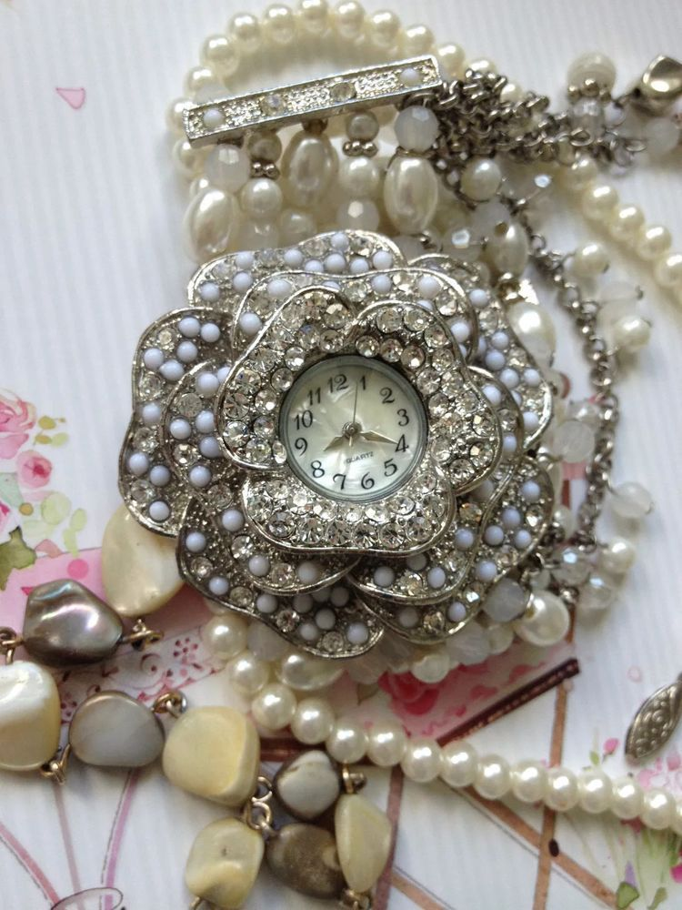 Vintage Costume Jewellery Job Lot  Diamante Pearl Watch Necklace