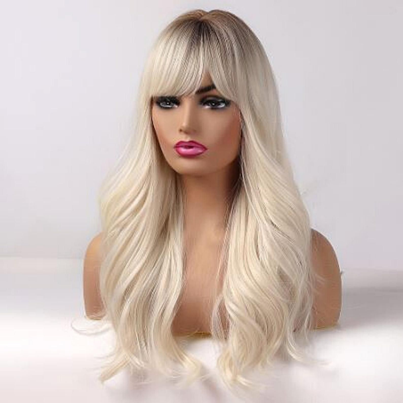 Ombre Beach Blonde Body Wave Wig With Bangs Etsy Long Blonde Wig Wigs With Bangs Bangs With Medium Hair