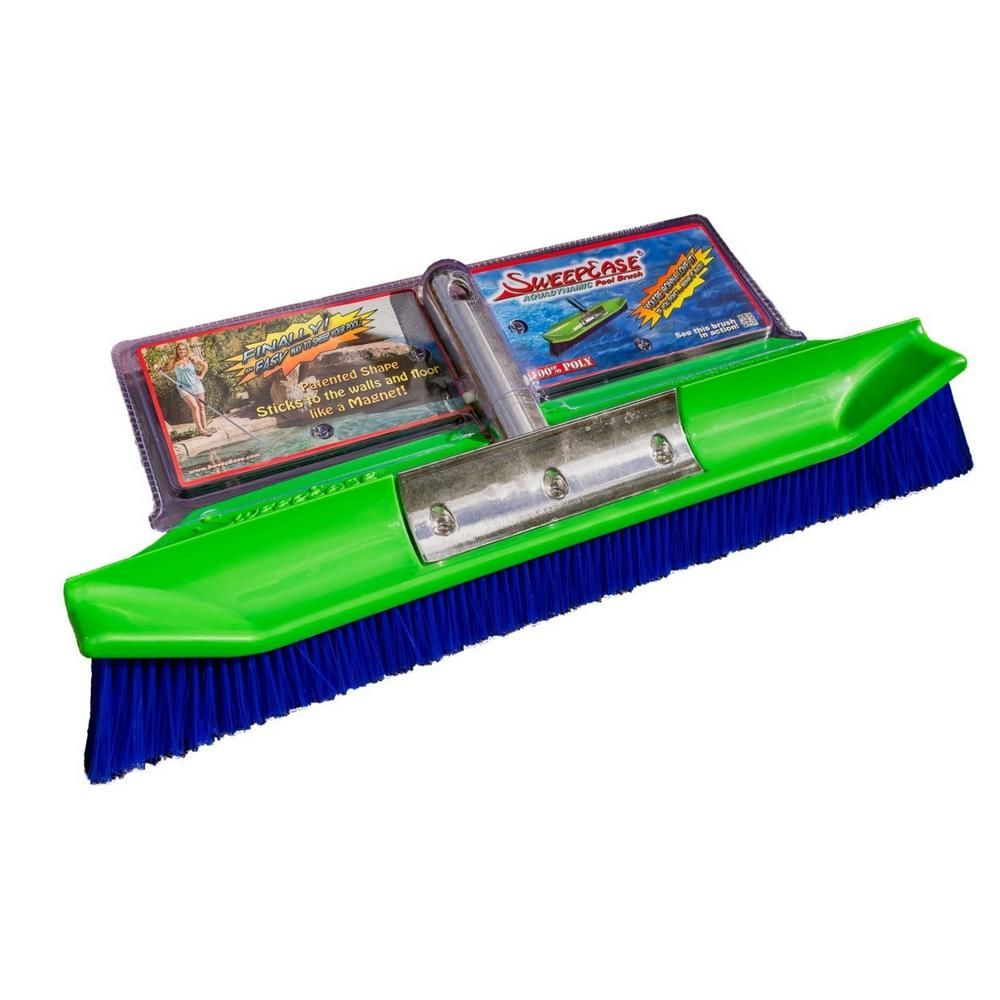 Sweepease New Improved Aquadynamic 18 In Pro Series 100 Poly Pool Brush Design That Sticks To The Walls Floor Guaranteed 654367706299 The Home Depot Pool Brushes Pebble Tech Pool Swimming Pools