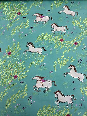 Quilting Cotton Fabric - Turquoise Teal Green with Horse Pony Print & Flowers.