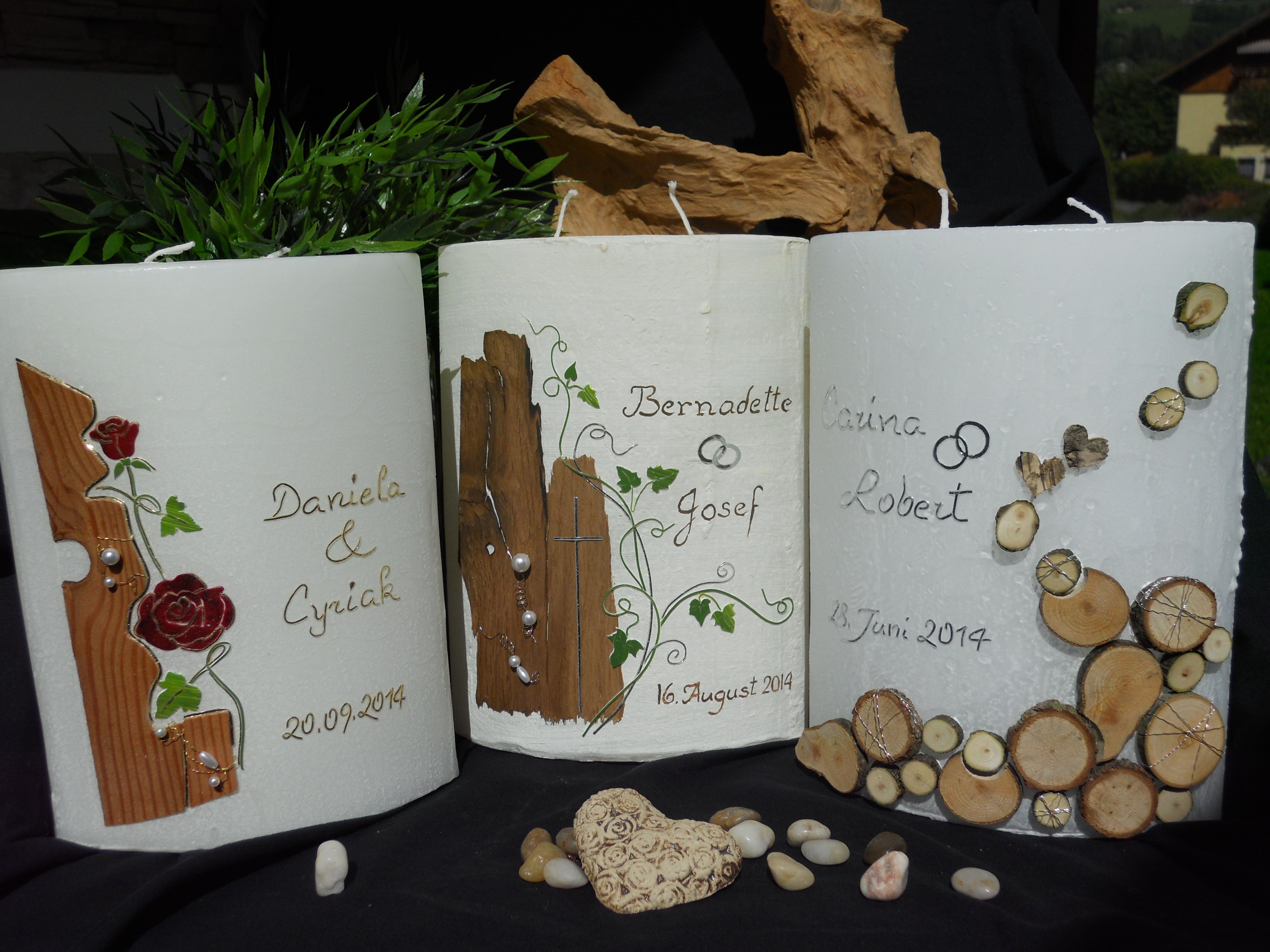 Kerzen für Hochzeit Taufe und Anlässe Handgebundene Fotoalben und Gästebücher Jedes Werk wird ausschließlich nach Kundenwunsch gefertigt