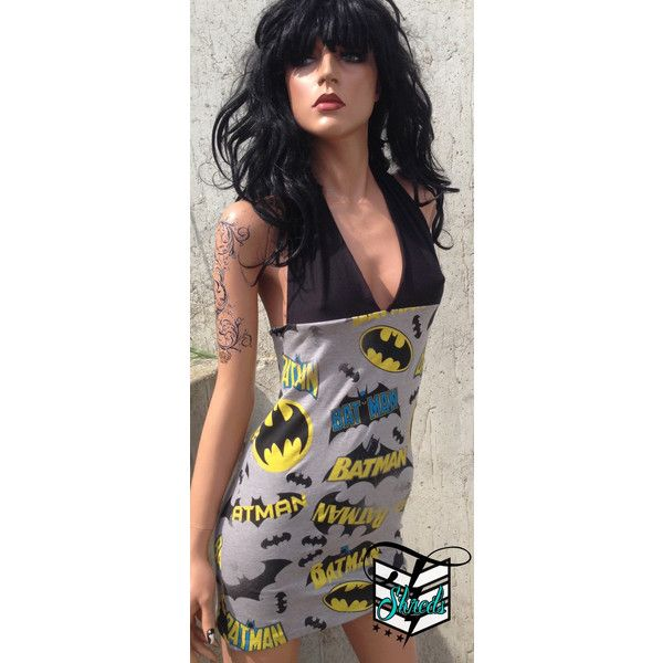 Batman halter dress a cute halter dress with retro batman print bottom. The halter straps are adjustable tie around the neck and come in black. This dress will…