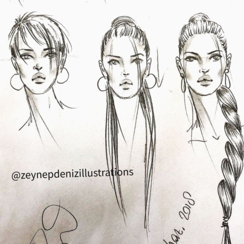 Photo of fashion illustration template with hair