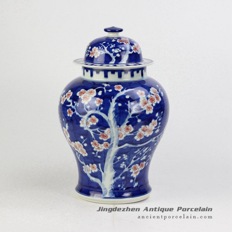 Hand paint blue white hand paint red flower pattern factory direct outlet low price ceramic ginger jar