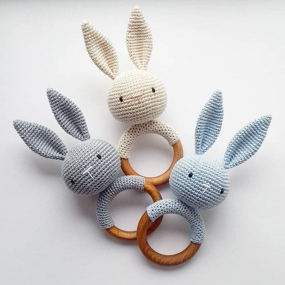 Bunny teether and rattle.   This Eco friendly crochet teether develops fine moto...