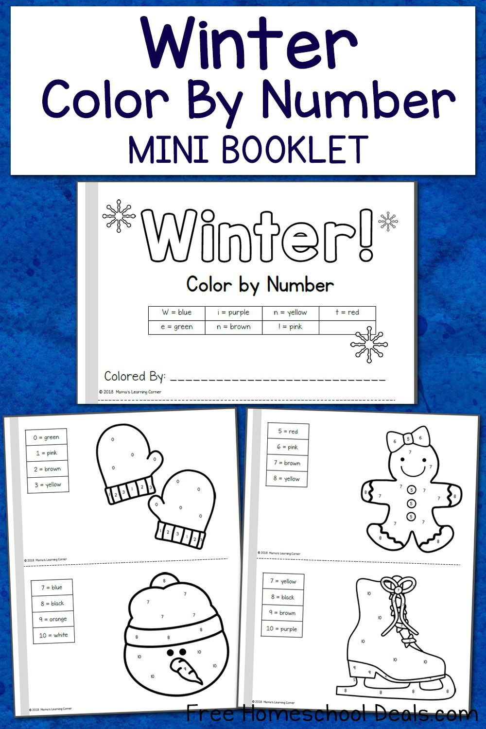 Free Winter Color By Number Mini Book Instant Download Kindergarten Mini Books Mini Books Kindergarten Books [ 1500 x 1000 Pixel ]