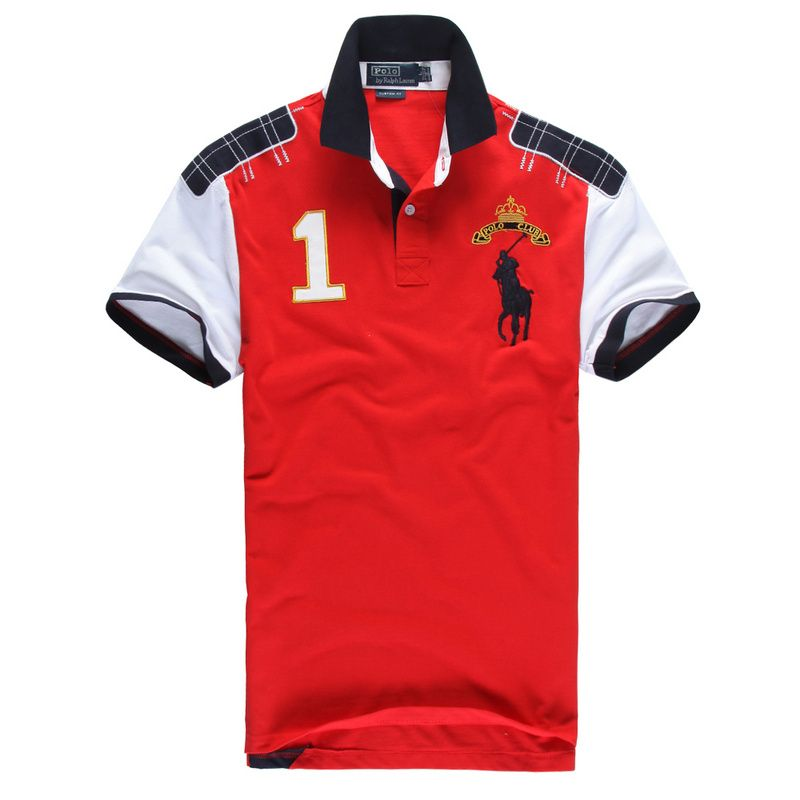 New Arrival Ralph Lauren Men Color Block Big Pony POLO CLUB Polo Shirt W  Contrast Shoulders  Patches Military Red White   Polo by Ralph Lauren    Pinterest ... 7a38b5650bcf