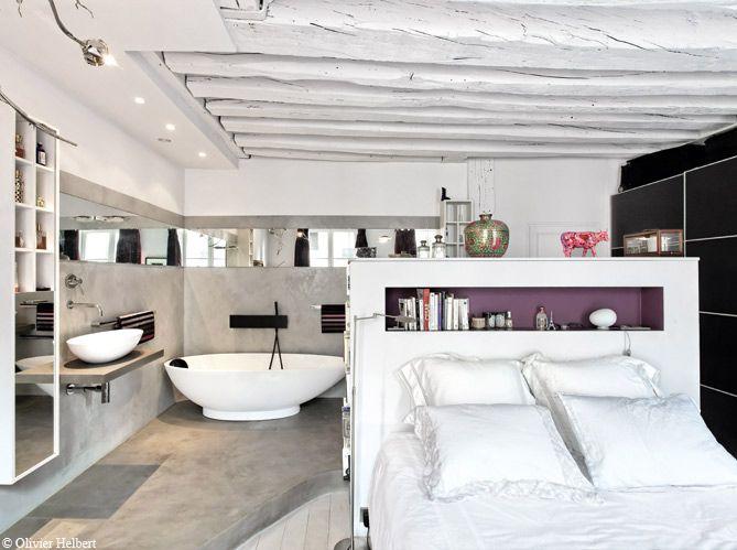 Confort douillet d 39 une chambre ambiance cocooning avec une for Suite parentale avec baignoire