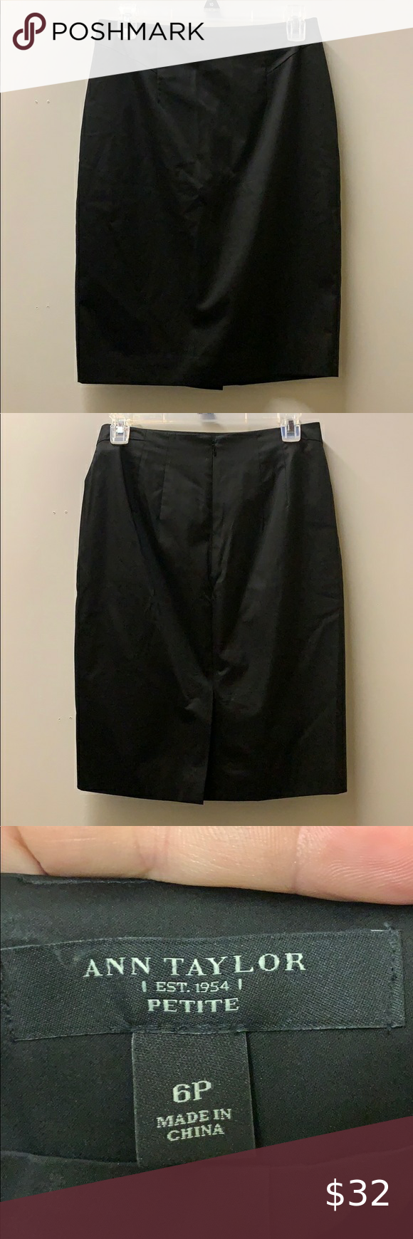 """Ann Taylor black pencil skirt Skirt is in like new condition. 22"""" from top to bottom. Waist 14 1/2"""" from seam to seam.  #055 Ann Taylor Skirts Pencil"""