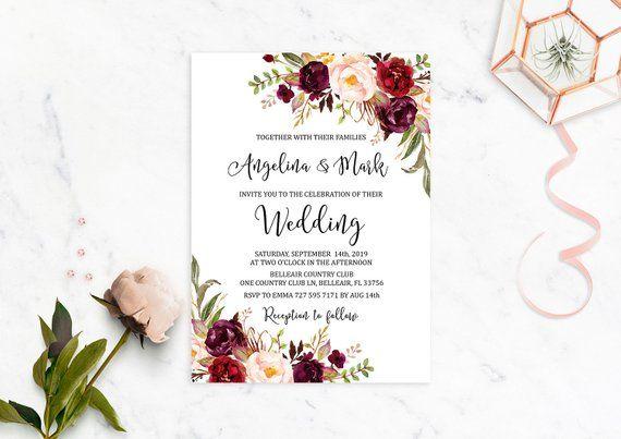 Marsala Wedding Invitation Printable Burgundy