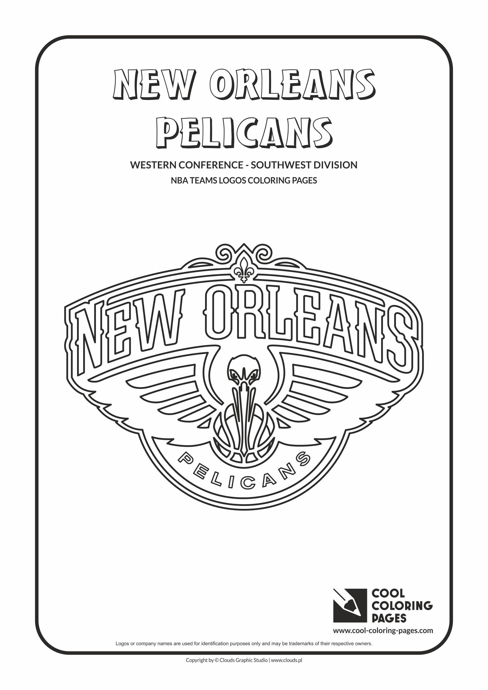 New Orleans Pelicans Nba Basketball Teams Logos Coloring Pages