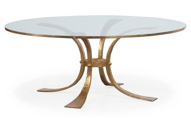 Retro Hammered Coffee Table Gold Leaf 43 dia x 18H by Modern