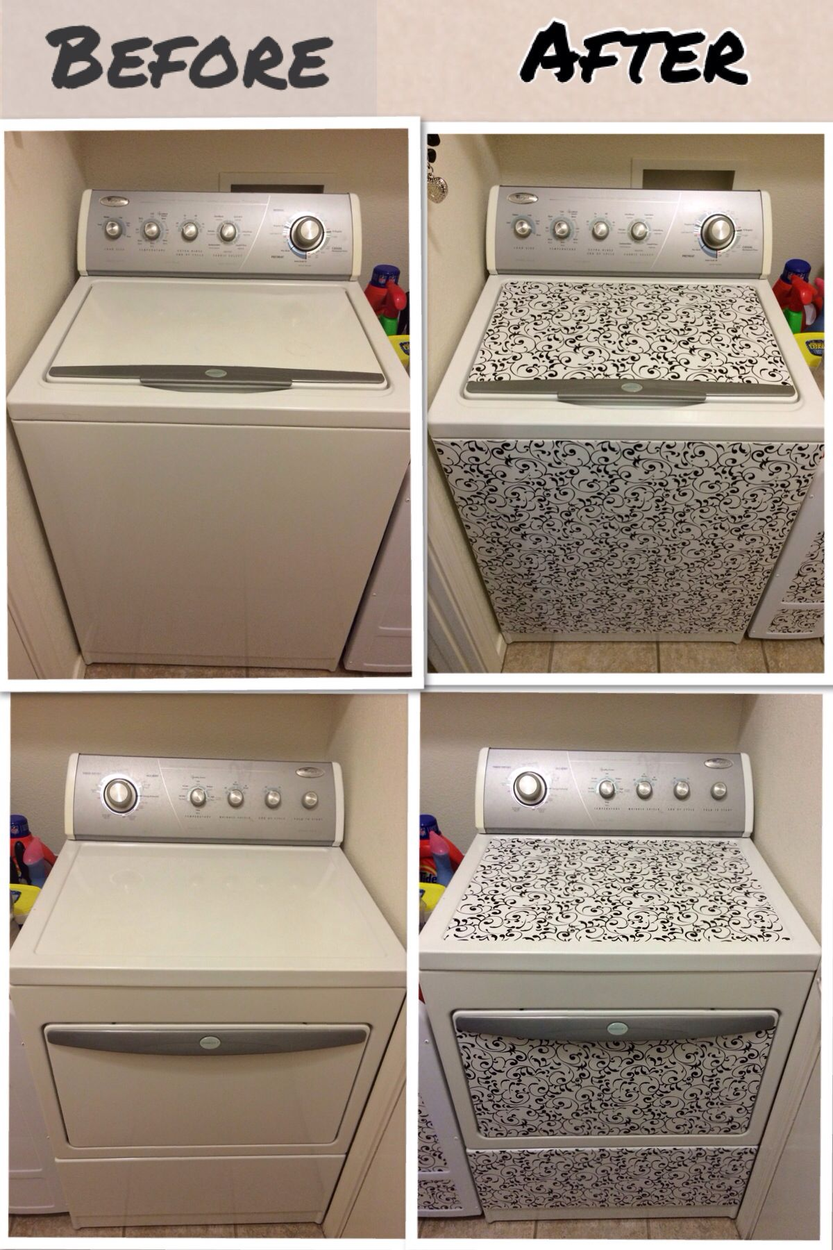 New look for washer dryer so easy with contact paper for Best brand of paint for kitchen cabinets with art nouveau wall paper