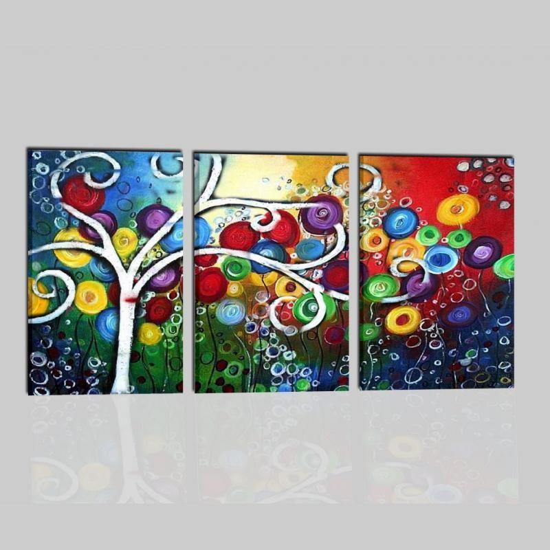 Quadro tre pannelli colorato albero stilizzato