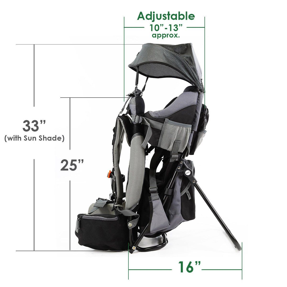 dc67a85772a Clevr Cross Country Baby Backpack Hiking Carrier with Stand and Sun Shade  Visor Child Kid toddler Black   To view further for this item