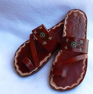 Leather Women Mexican Hand Painted Sandals Genuine Leather