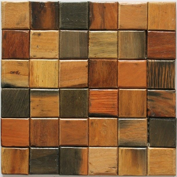 Natural wood mosaic tile rustic wood wall tiles NWMT016 kitchen backsplash  wood panel 3D wood pattern