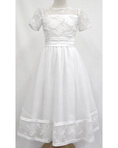 93c4f5f23bc8 Amazon.com: White Organza Beaded Lace Sheer Communion Dress Corsage Waist  Back: Clothing