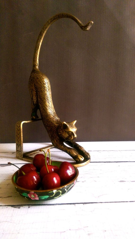 Brass Cat Banana Stand Vintage Banana Stand Brass Cat Banana