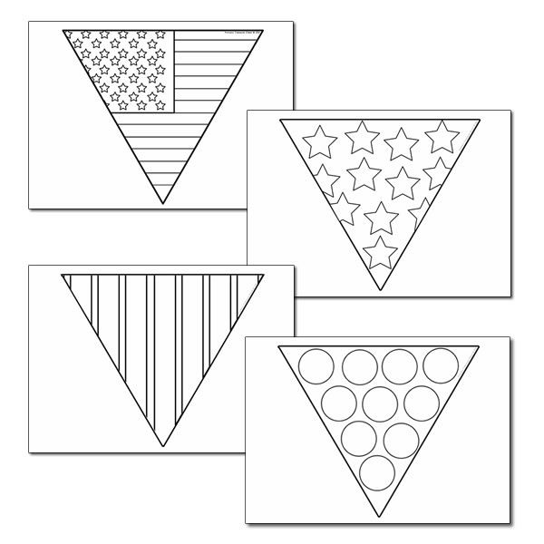 American Flag Bunting Coloring Sheet, Plus Three Other