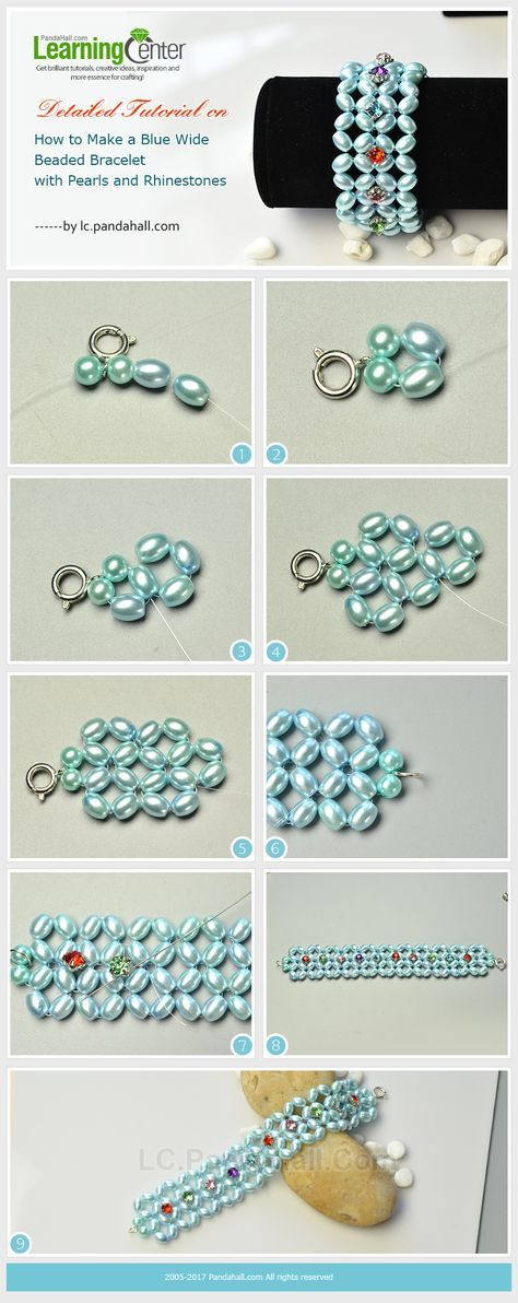 Detailed Tutorial on How to Make a Blue Wide Beaded Bracelet with ...