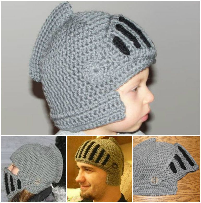 Crochet Knight Helmet Pattern And Hat Best Ideas | Helmets, Knight ...